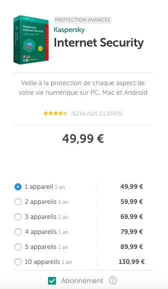 prix kaspersky