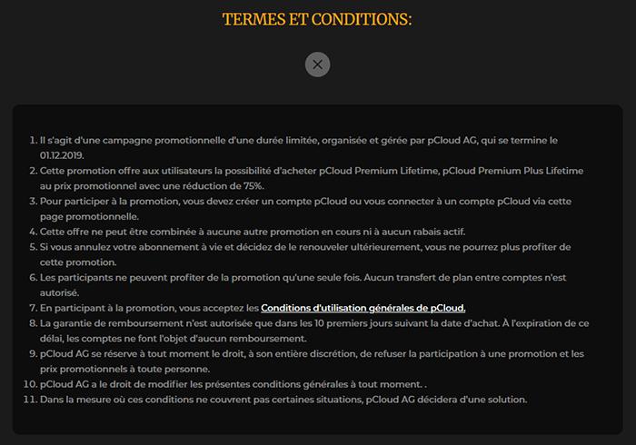 Conditions abonnement pCloud