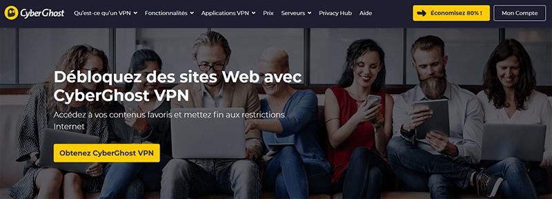 Débloquer site avec CyberGhost
